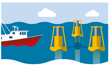 Illustration of a boat and Marine Turbine