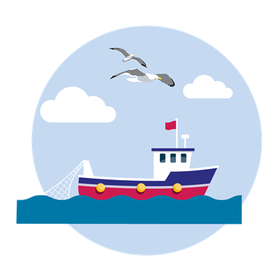 Illustration of Fishing boat with seabirds flying overhead