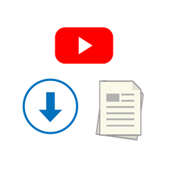 Icon showing play button, newspaper and download arrow