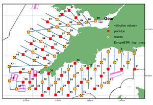 'PELTIC' sampling grid around southwest England and Wales, comprising acoustic transects, plankton and CTD hauls, fish trawls and seabird/mammal observations