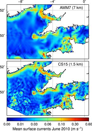 "The figure shows the effect of the change in resolution in the currents speed in the Celtic Sea domain (""CS15"")"