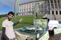 Dr Danny Barrios-O'Neill outside Northern Ireland Assembly